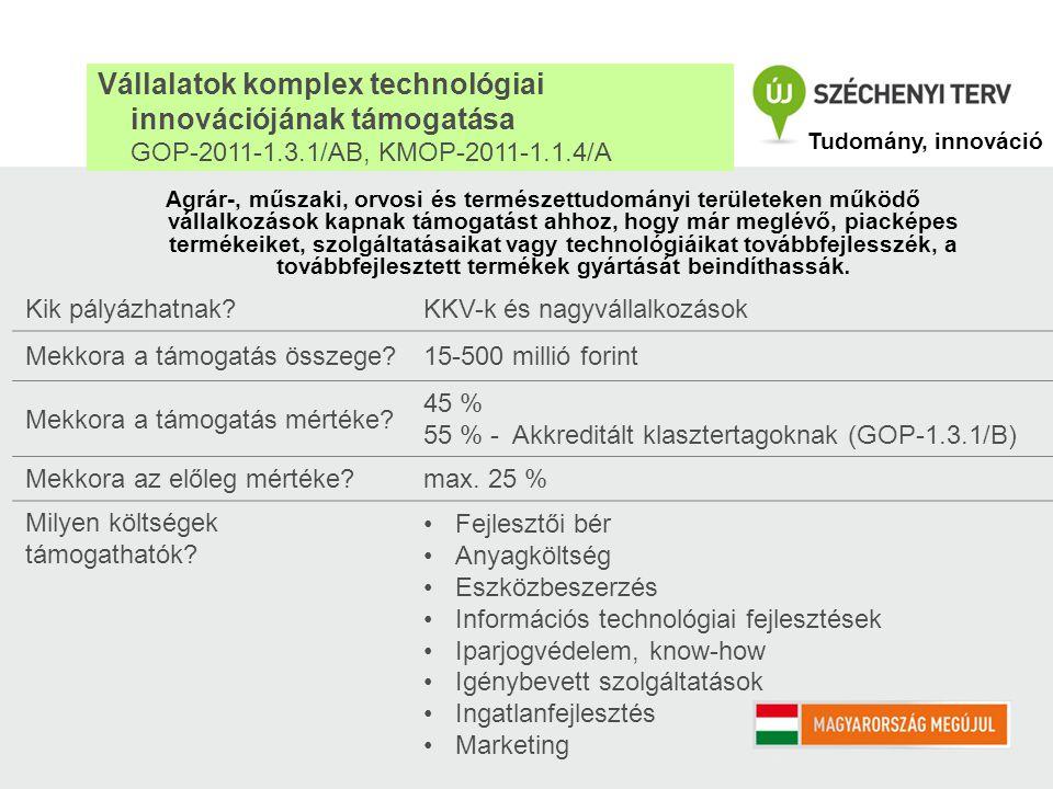Innovációs eredmények hasznosításának támogatása KKV-k részére GOP-2011-1.3.1/C, KMOP-2011-1.1.4/B Kik pályázhatnak?mikro-, kis- és közepes vállalkozások Mekkora a támogatás összege.