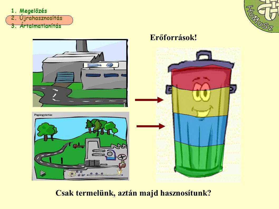 1. Megelőzés 2. Újrahasznosítás 3. Ártalmatlanítás Erőforrások! Csak termelünk, aztán majd hasznosítunk?