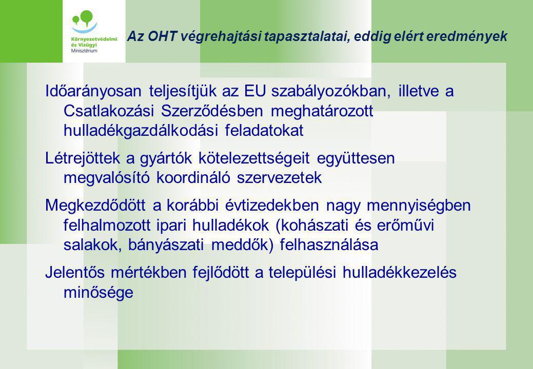 Az OHT végrehajtási tapasztalatai, eddig elért eredmények Időarányosan teljesítjük az EU szabályozókban, illetve a Csatlakozási Szerződésben meghatározott hulladékgazdálkodási feladatokat Létrejöttek a gyártók kötelezettségeit együttesen megvalósító koordináló szervezetek Megkezdődött a korábbi évtizedekben nagy mennyiségben felhalmozott ipari hulladékok (kohászati és erőművi salakok, bányászati meddők) felhasználása Jelentős mértékben fejlődött a települési hulladékkezelés minősége
