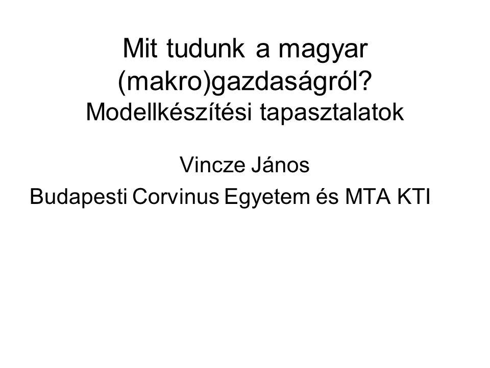 Mit tudunk a magyar (makro)gazdaságról? Modellkészítési tapasztalatok Vincze János Budapesti Corvinus Egyetem és MTA KTI