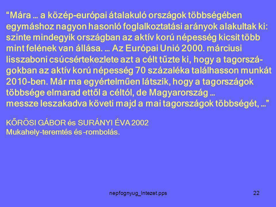 """nepfognyug_Intezet.pps22 """"Mára … a közép-európai átalakuló országok többségében egymáshoz nagyon hasonló foglalkoztatási arányok alakultak ki: szinte"""