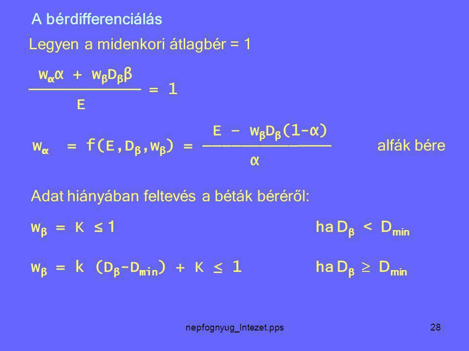 nepfognyug_Intezet.pps28 Legyen a midenkori átlagbér = 1 w α α + w β D β β ────────── = 1 E E – w β D β (1-α) w α = f(E,D β,w β ) = ────────── ─── alf