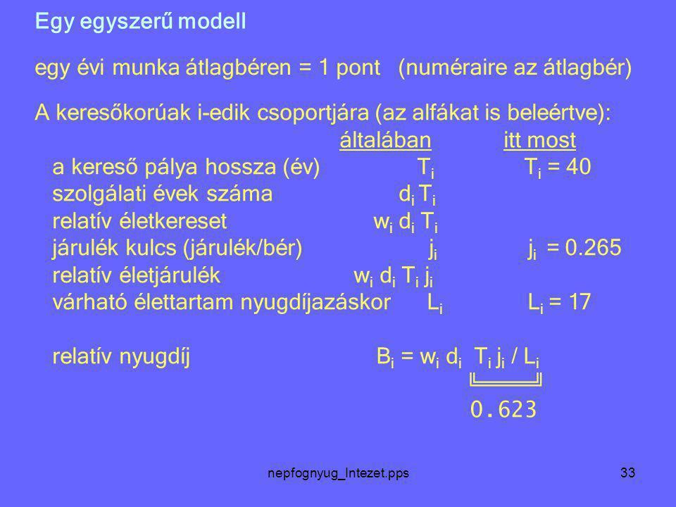 nepfognyug_Intezet.pps33 Egy egyszerű modell A keresőkorúak i-edik csoportjára (az alfákat is beleértve): általában itt most a kereső pálya hossza (év