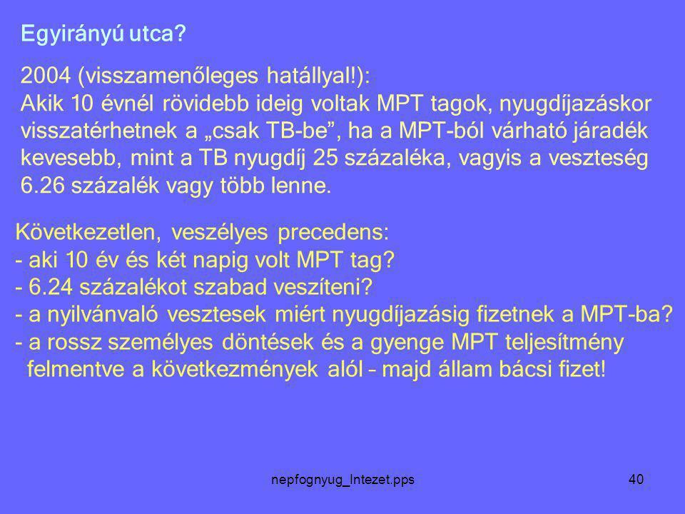 """nepfognyug_Intezet.pps40 2004 (visszamenőleges hatállyal!): Akik 10 évnél rövidebb ideig voltak MPT tagok, nyugdíjazáskor visszatérhetnek a """"csak TB-b"""