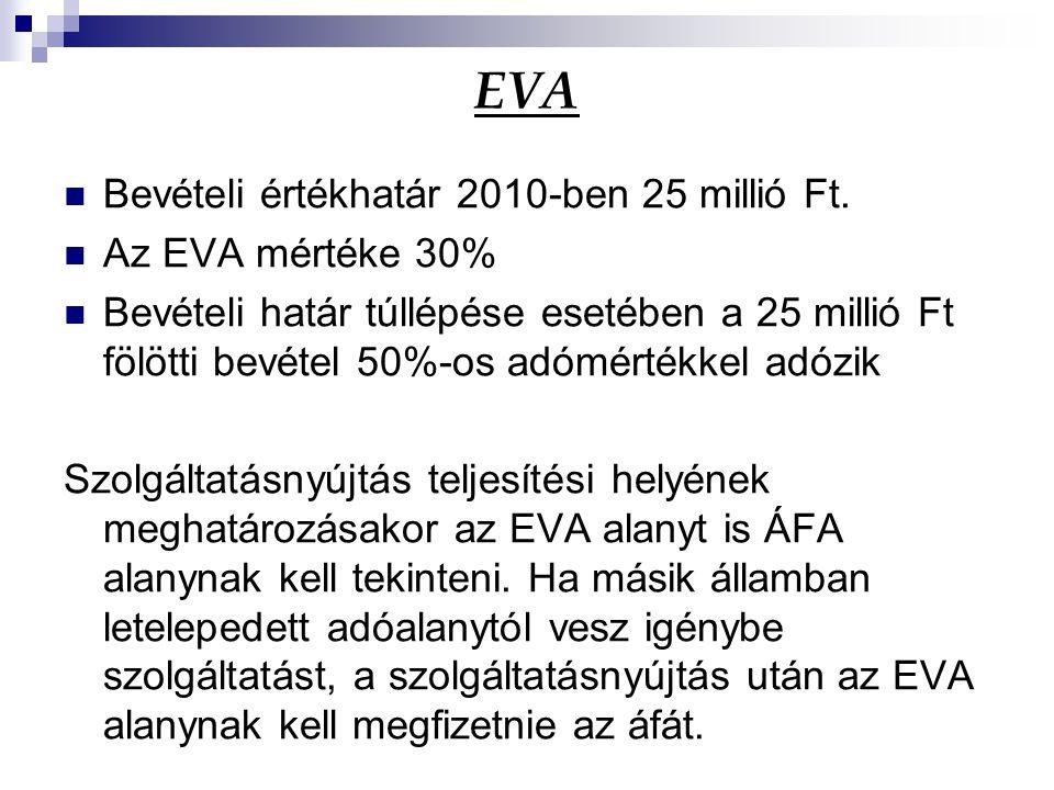 EVA Bevételi értékhatár 2010-ben 25 millió Ft. Az EVA mértéke 30% Bevételi határ túllépése esetében a 25 millió Ft fölötti bevétel 50%-os adómértékkel