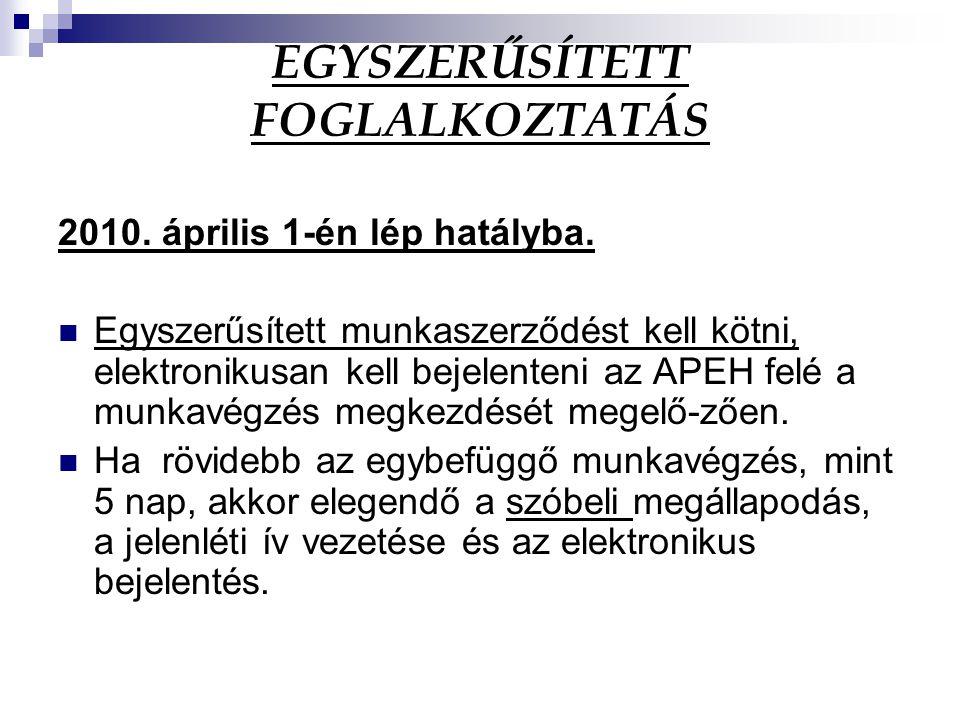 EGYSZERŰSÍTETT FOGLALKOZTATÁS 2010. április 1-én lép hatályba. Egyszerűsített munkaszerződést kell kötni, elektronikusan kell bejelenteni az APEH felé