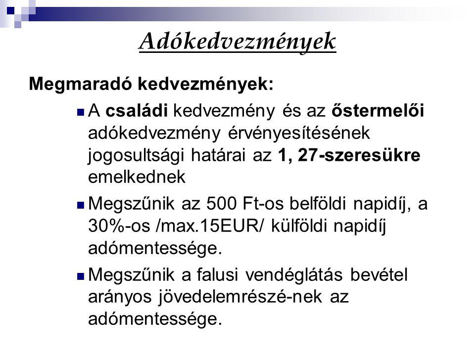 Adókedvezmények Megmaradó kedvezmények: A családi kedvezmény és az őstermelői adókedvezmény érvényesítésének jogosultsági határai az 1, 27-szeresükre