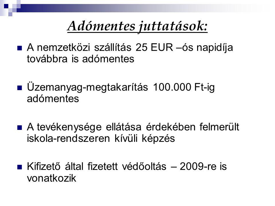 Adómentes juttatások: A nemzetközi szállítás 25 EUR –ós napidíja továbbra is adómentes Üzemanyag-megtakarítás 100.000 Ft-ig adómentes A tevékenysége e