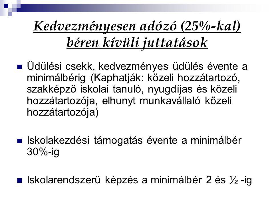 Kedvezményesen adózó (25%-kal) béren kívüli juttatások Helyi utazási bérlet Melegétkeztetés 18 ezer Ft-ig/hó Munkáltatói hozzájárulások, %-os korlátokkal stb.