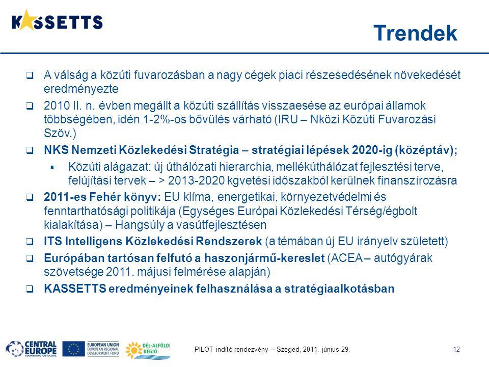 PILOT indító rendezvény – Szeged, 2011. június 29.12  A válság a közúti fuvarozásban a nagy cégek piaci részesedésének növekedését eredményezte  201