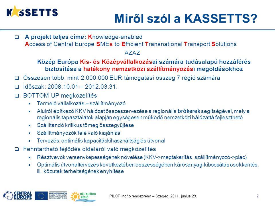 PILOT indító rendezvény – Szeged, 2011. június 29.2 Miről szól a KASSETTS?  A projekt teljes címe: Knowledge-enabled Access of Central Europe SMEs to