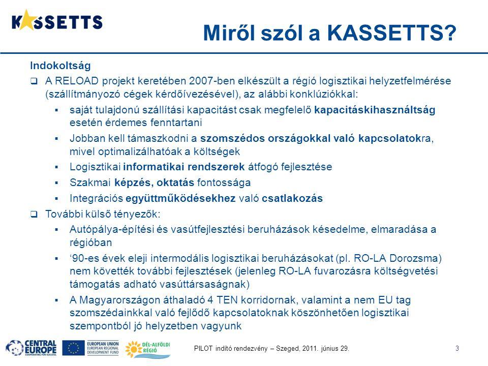 PILOT indító rendezvény – Szeged, 2011. június 29.3 Indokoltság  A RELOAD projekt keretében 2007-ben elkészült a régió logisztikai helyzetfelmérése (