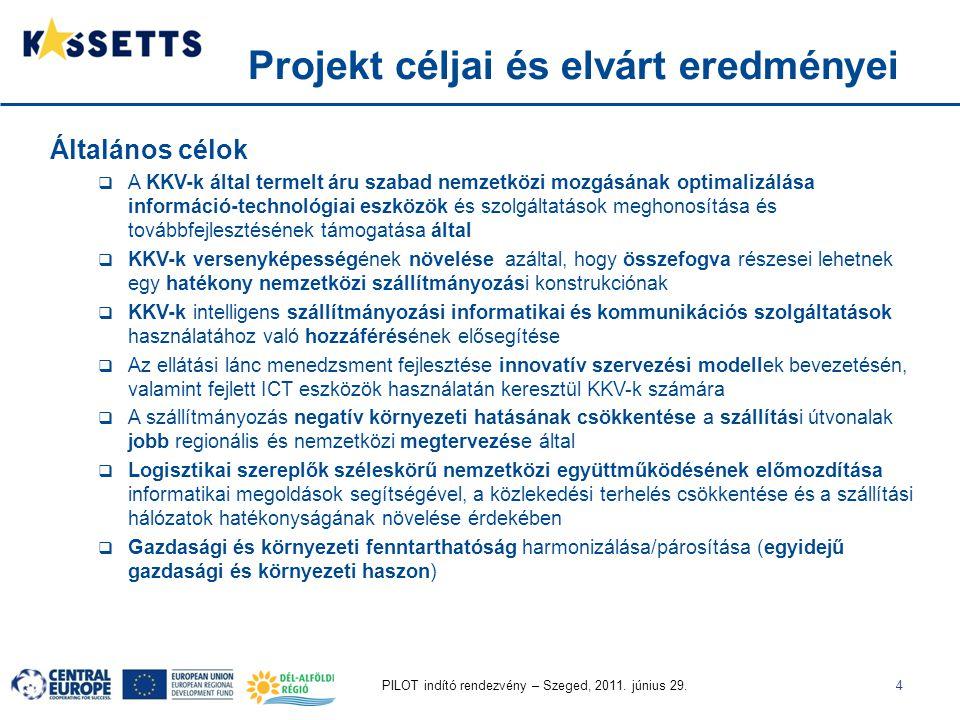 PILOT indító rendezvény – Szeged, 2011. június 29.4 Projekt céljai és elvárt eredményei Általános célok  A KKV-k által termelt áru szabad nemzetközi