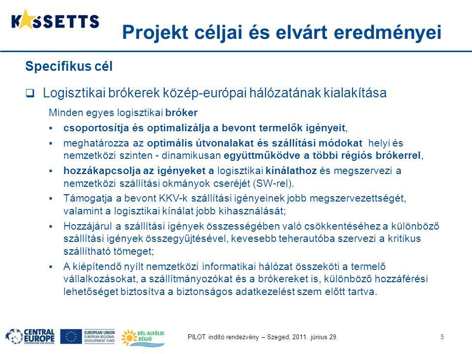 PILOT indító rendezvény – Szeged, 2011. június 29.5 Specifikus cél  Logisztikai brókerek közép-európai hálózatának kialakítása Minden egyes logisztik