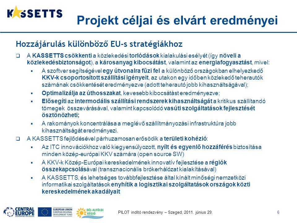 PILOT indító rendezvény – Szeged, 2011. június 29.6 Projekt céljai és elvárt eredményei Hozzájárulás különböző EU-s stratégiákhoz  A KASSETTS csökken