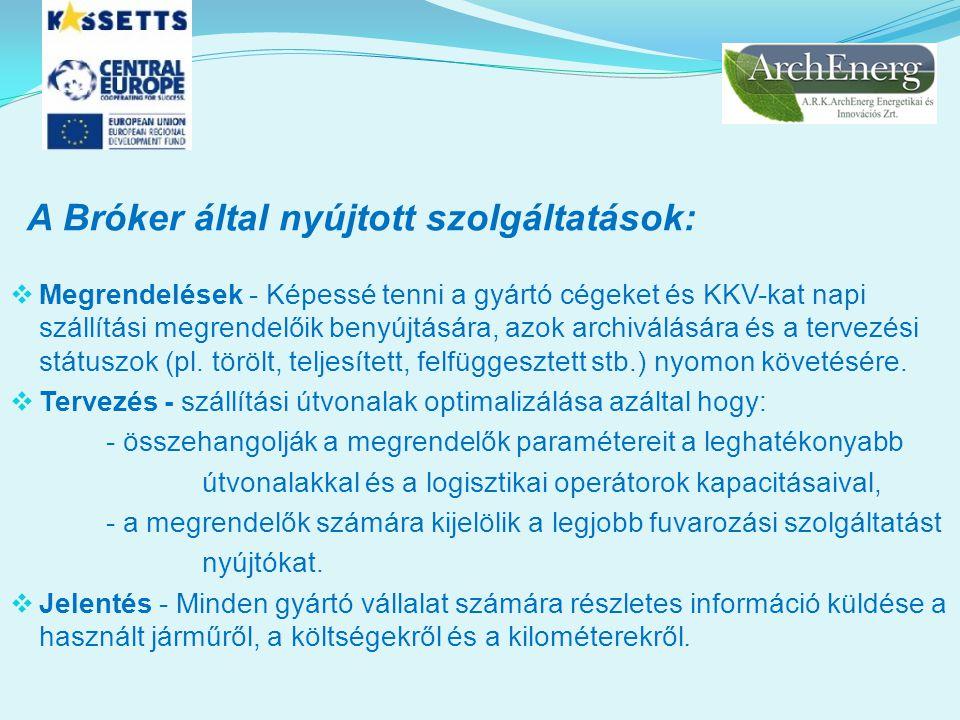 A Bróker által nyújtott szolgáltatások:  Megrendelések - Képessé tenni a gyártó cégeket és KKV-kat napi szállítási megrendelőik benyújtására, azok ar