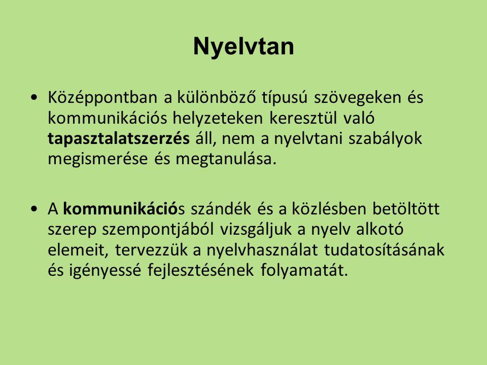 Nyelvtan Középpontban a különböző típusú szövegeken és kommunikációs helyzeteken keresztül való tapasztalatszerzés áll, nem a nyelvtani szabályok megi