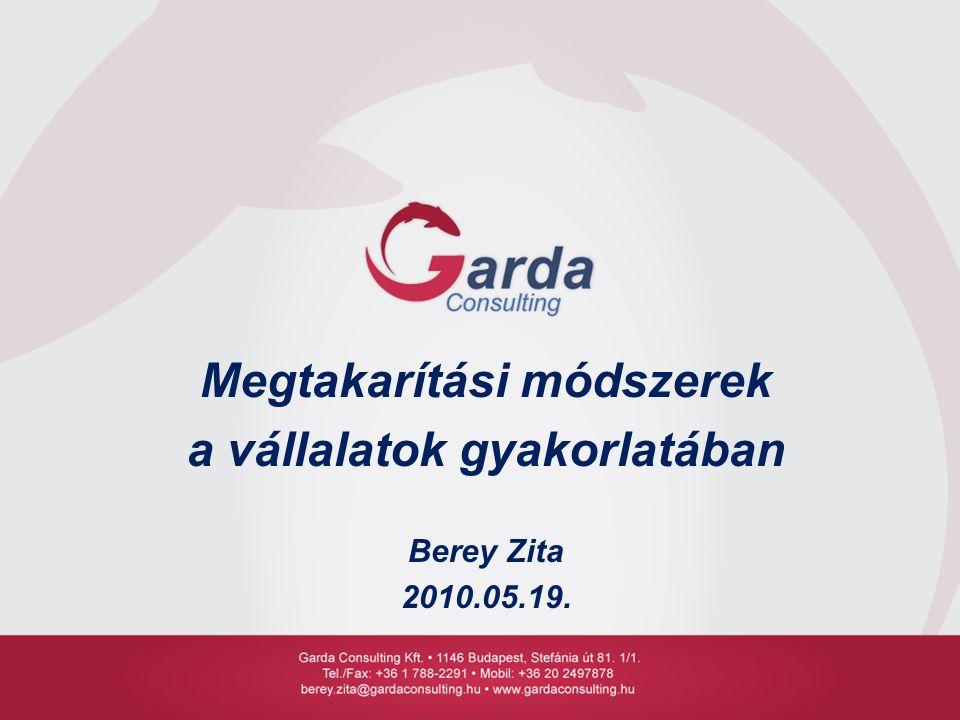 Megtakarítási módszerek a vállalatok gyakorlatában Berey Zita 2010.05.19.