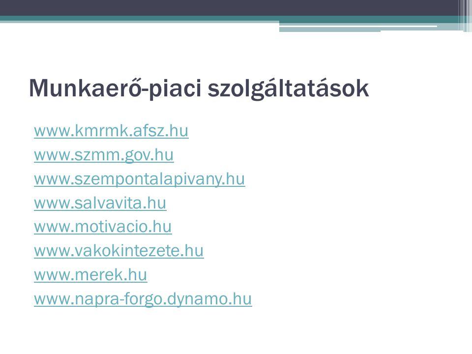 Munkaerő-piaci szolgáltatások www.kmrmk.afsz.hu www.szmm.gov.hu www.szempontalapivany.hu www.salvavita.hu www.motivacio.hu www.vakokintezete.hu www.merek.hu www.napra-forgo.dynamo.hu