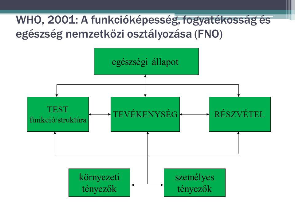 WHO, 2001: A funkcióképesség, fogyatékosság és egészség nemzetközi osztályozása (FNO) TEST funkció/struktúra TEVÉKENYSÉGRÉSZVÉTEL környezeti tényezők személyes tényezők egészségi állapot