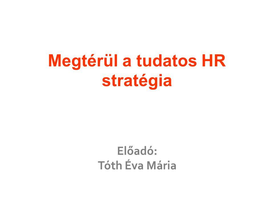 Megtérül a tudatos HR stratégia Előadó: Tóth Éva Mária
