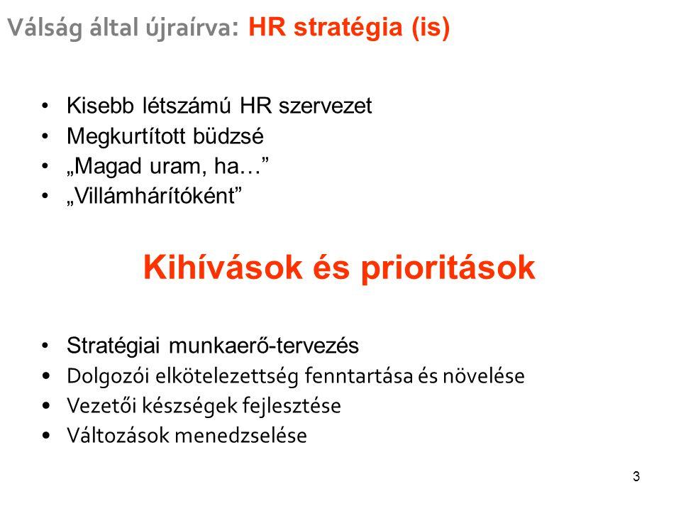 """3 Válság által újraírva : HR stratégia (is) Kisebb létszámú HR szervezet Megkurtított büdzsé """"Magad uram, ha… """"Villámhárítóként Stratégiai munkaerő-tervezés Dolgozói elkötelezettség fenntartása és növelése Vezetői készségek fejlesztése Változások menedzselése Kihívások és prioritások"""