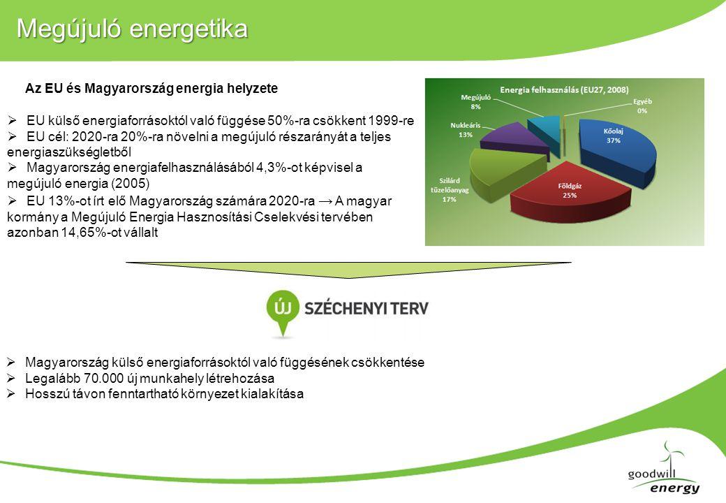 Megújuló energetika  EU külső energiaforrásoktól való függése 50%-ra csökkent 1999-re  EU cél: 2020-ra 20%-ra növelni a megújuló részarányát a teljes energiaszükségletből  Magyarország energiafelhasználásából 4,3%-ot képvisel a megújuló energia (2005)  EU 13%-ot írt elő Magyarország számára 2020-ra → A magyar kormány a Megújuló Energia Hasznosítási Cselekvési tervében azonban 14,65%-ot vállalt Az EU és Magyarország energia helyzete  Magyarország külső energiaforrásoktól való függésének csökkentése  Legalább 70.000 új munkahely létrehozása  Hosszú távon fenntartható környezet kialakítása