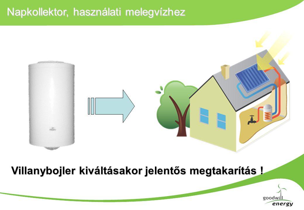 Napkollektor, használati melegvízhez, példa Egy önkormányzati iskolai konyhára 20mnapkollektort telepítünk ahol eddig villanybojlerek Egy önkormányzati iskolai konyhára 20m 2 napkollektort telepítünk ahol eddig villanybojlerek melegítették a vizet (déli tájolású 45° lejtésű tetőre szerelve, jó minőségű sík napkollektorokkal számolva) Rendszer ára ~220 000 Ft/m 2 × 20 m 2 = 4,4 MFt nettó Kiváltott villamos energia ~11 000 kWh/év Kiváltott villamos költség nettó~440 000 Ft/év 85% támogatással az egyszerű megtérülés ~1,5 év SolarKeymark, DINCERTCO