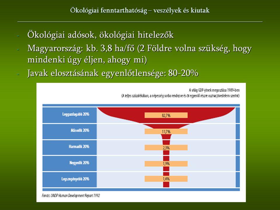 - Ökológiai adósok, ökológiai hitelezők - Magyarország: kb. 3,8 ha/fő (2 Földre volna szükség, hogy mindenki úgy éljen, ahogy mi) - Javak elosztásának