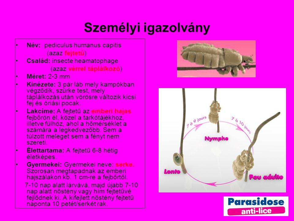 Személyi igazolvány Név: pediculus humanus capitis (azaz fejtetű) Család: insecte heamatophage (azaz vérrel táplálkozó) Méret: 2-3 mm Kinézete: 3 pár láb mely kampókban végződik, szürke test, mely táplálkozás után vörösre változik kicsi fej és óriási pocak.
