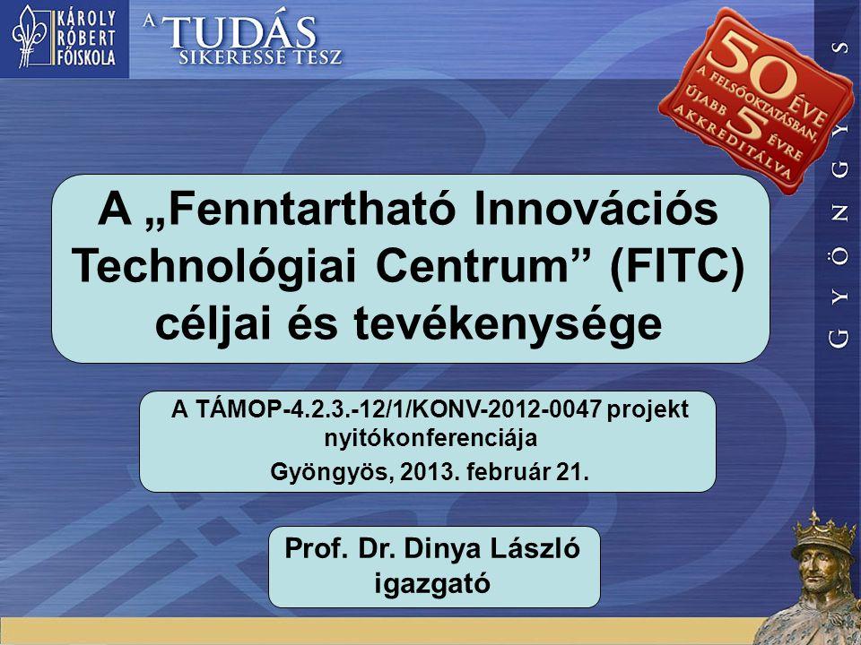 """A """"Fenntartható Innovációs Technológiai Centrum (FITC) céljai és tevékenysége A TÁMOP-4.2.3.-12/1/KONV-2012-0047 projekt nyitókonferenciája Gyöngyös, 2013."""