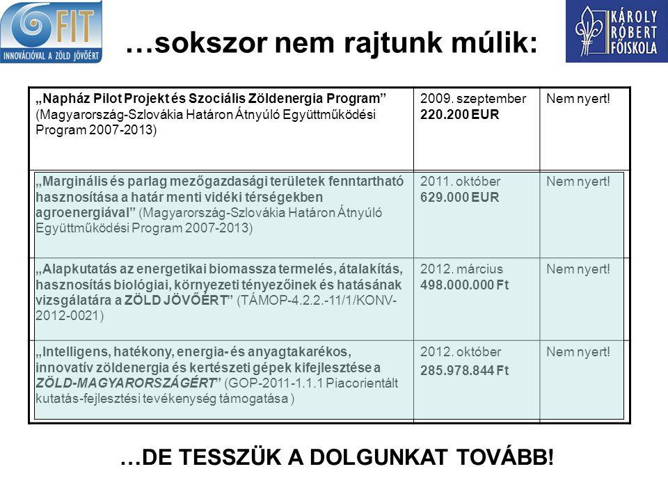 """…sokszor nem rajtunk múlik: """"Napház Pilot Projekt és Szociális Zöldenergia Program (Magyarország-Szlovákia Határon Átnyúló Együttműködési Program 2007-2013) 2009."""