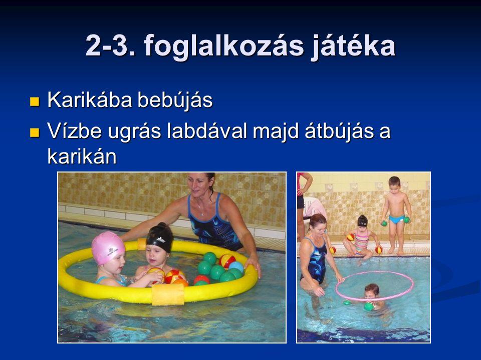 2-3. foglalkozás játéka Karikába bebújás Karikába bebújás Vízbe ugrás labdával majd átbújás a karikán Vízbe ugrás labdával majd átbújás a karikán