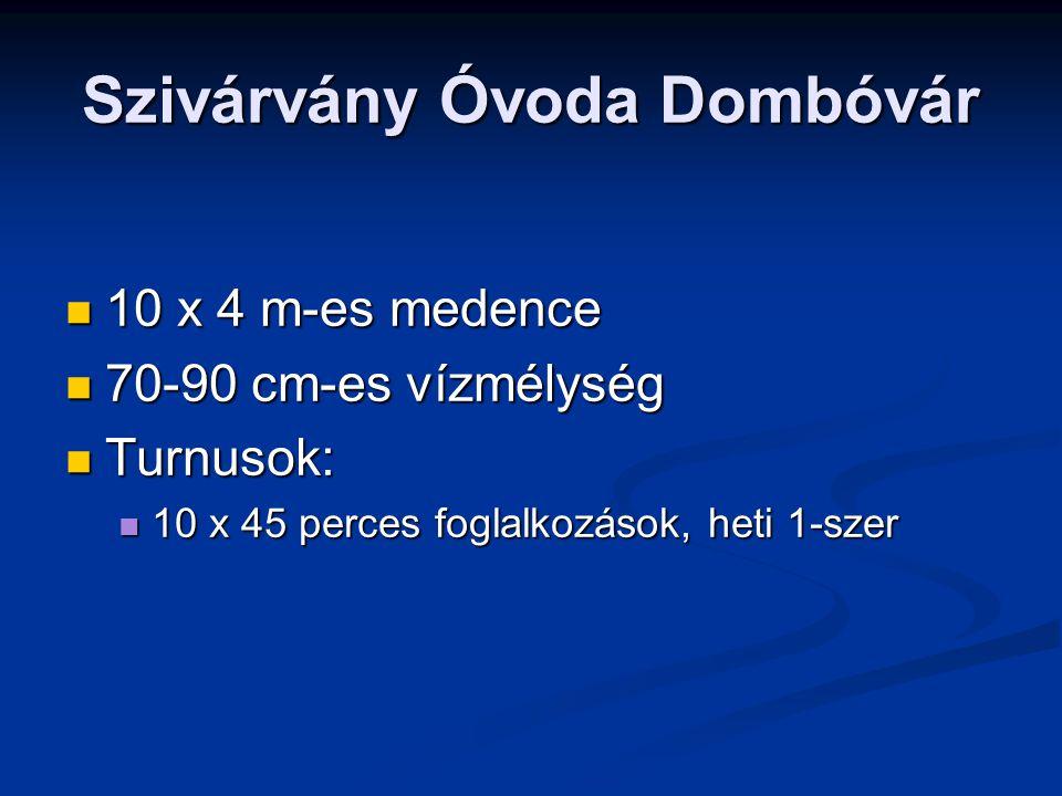 Szivárvány Óvoda Dombóvár 10 x 4 m-es medence 10 x 4 m-es medence 70-90 cm-es vízmélység 70-90 cm-es vízmélység Turnusok: Turnusok: 10 x 45 perces fog