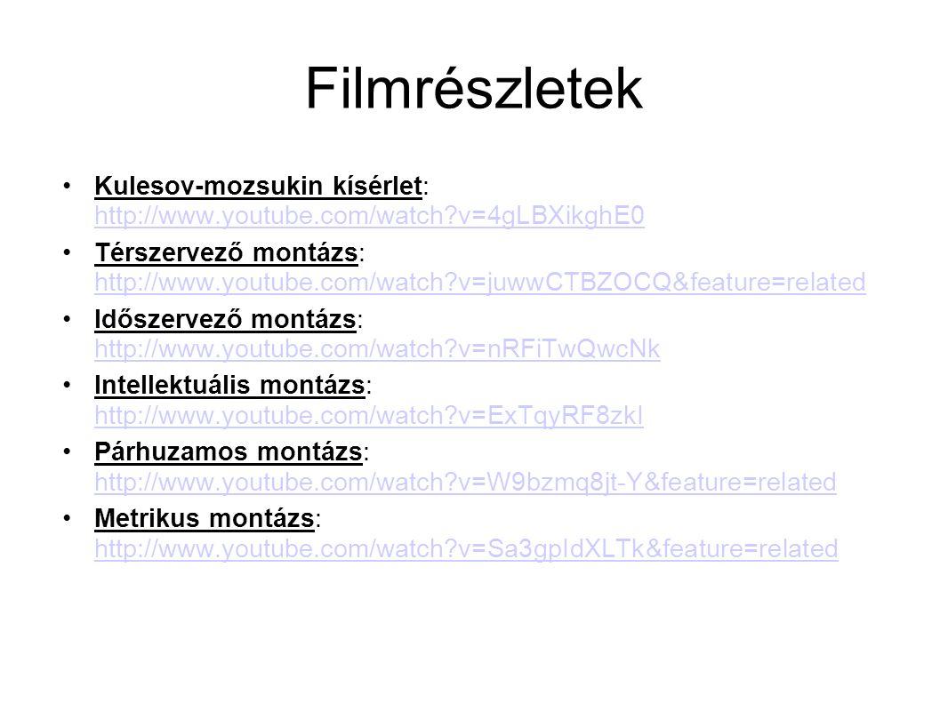 Filmrészletek Kulesov-mozsukin kísérlet: http://www.youtube.com/watch?v=4gLBXikghE0 http://www.youtube.com/watch?v=4gLBXikghE0 Térszervező montázs: ht