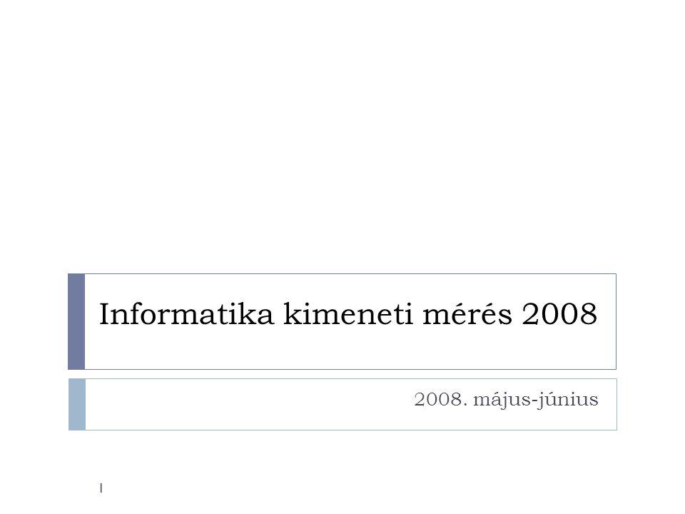 Informatika kimeneti mérés 2008 2008. május-június 1