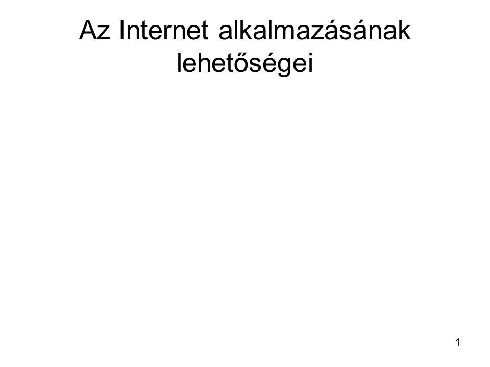 2 Bevezető A tantárgy célja –az Internet alapvető használatát a gyakorlatban is bemutatni –alapfogalmak és alapelvek megismertetése –hasznos tanácsokat kíván adni az Internet hatékony felhasználására