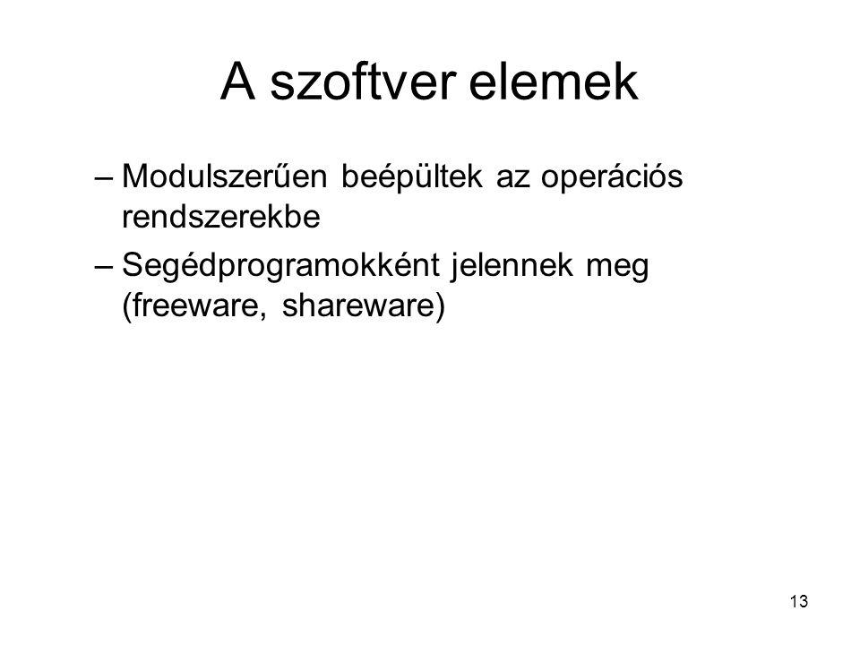 13 A szoftver elemek –Modulszerűen beépültek az operációs rendszerekbe –Segédprogramokként jelennek meg (freeware, shareware)