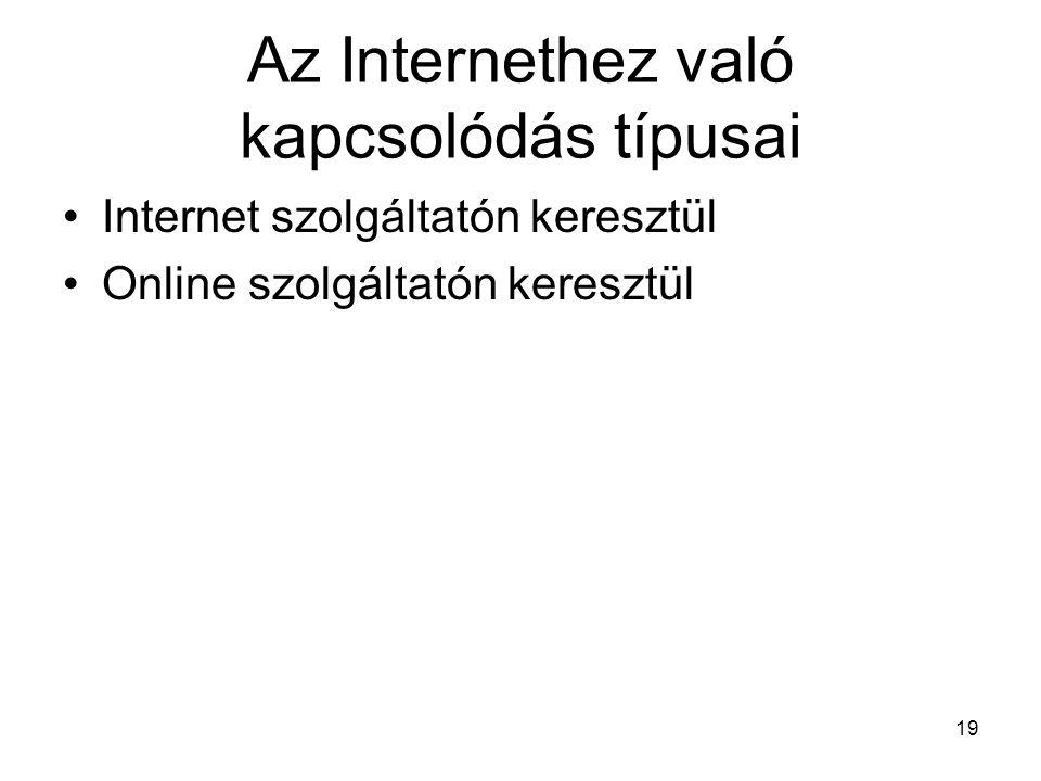 19 Az Internethez való kapcsolódás típusai Internet szolgáltatón keresztül Online szolgáltatón keresztül
