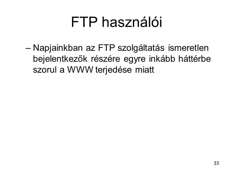 33 FTP használói –Napjainkban az FTP szolgáltatás ismeretlen bejelentkezők részére egyre inkább háttérbe szorul a WWW terjedése miatt