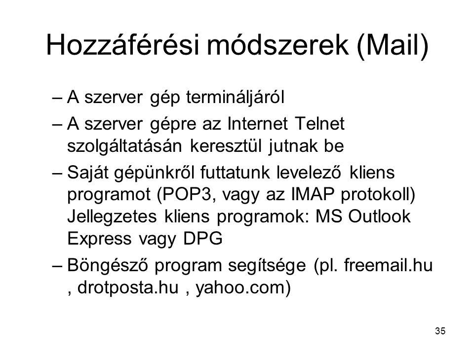 35 Hozzáférési módszerek (Mail) –A szerver gép termináljáról –A szerver gépre az Internet Telnet szolgáltatásán keresztül jutnak be –Saját gépünkről futtatunk levelező kliens programot (POP3, vagy az IMAP protokoll) Jellegzetes kliens programok: MS Outlook Express vagy DPG –Böngésző program segítsége (pl.