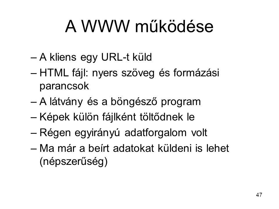 47 A WWW működése –A kliens egy URL-t küld –HTML fájl: nyers szöveg és formázási parancsok –A látvány és a böngésző program –Képek külön fájlként töltődnek le –Régen egyirányú adatforgalom volt –Ma már a beírt adatokat küldeni is lehet (népszerűség)