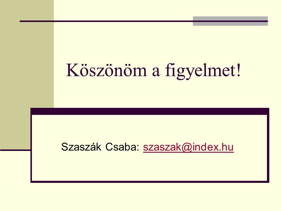 Köszönöm a figyelmet! Szaszák Csaba: szaszak@index.huszaszak@index.hu
