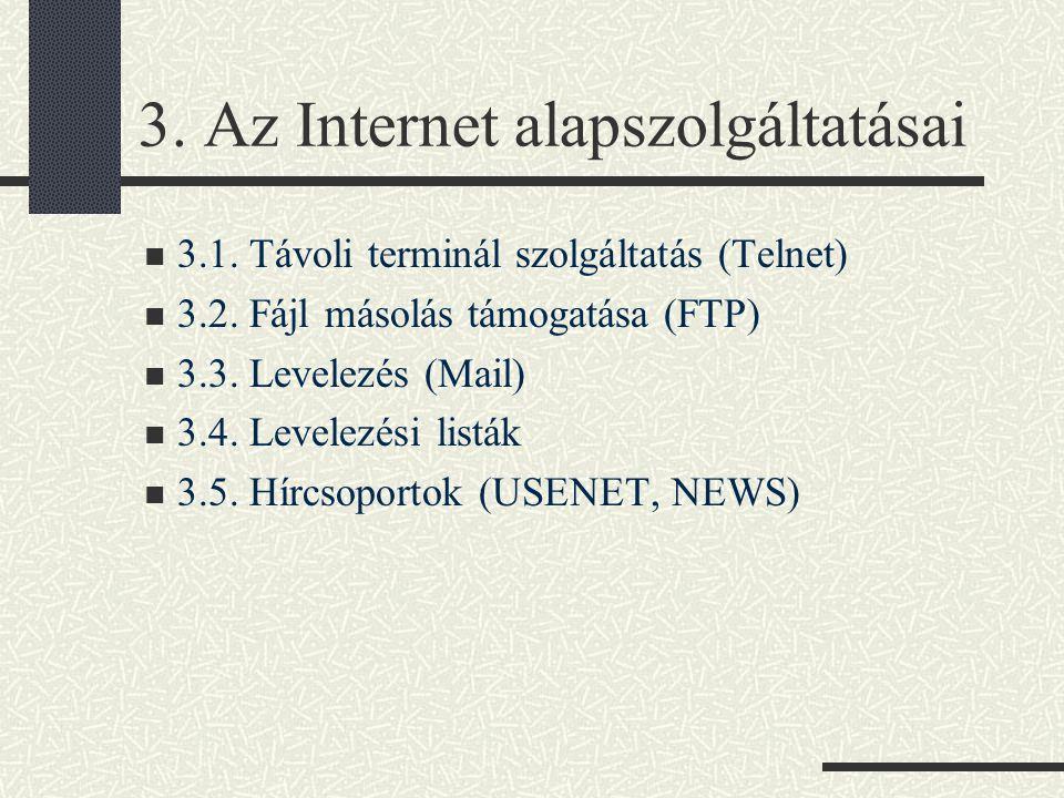 3.Az Internet alapszolgáltatásai 3.1. Távoli terminál szolgáltatás (Telnet) 3.2.