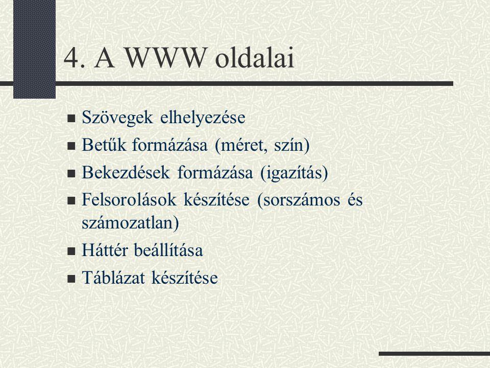 4. A WWW oldalai Szövegek elhelyezése Betűk formázása (méret, szín) Bekezdések formázása (igazítás) Felsorolások készítése (sorszámos és számozatlan)