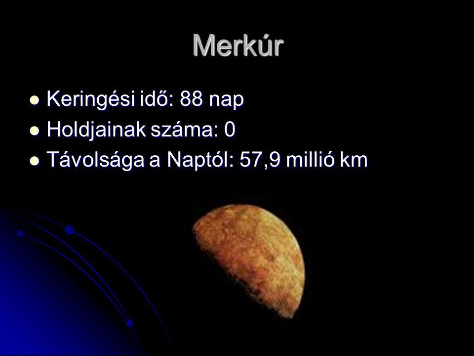 Merkúr Keringési idő: 88 nap Keringési idő: 88 nap Holdjainak száma: 0 Holdjainak száma: 0 Távolsága a Naptól: 57,9 millió km Távolsága a Naptól: 57,9 millió km