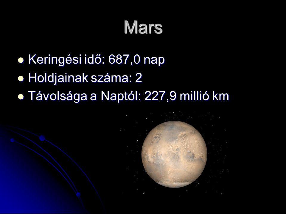Mars Keringési idő: 687,0 nap Keringési idő: 687,0 nap Holdjainak száma: 2 Holdjainak száma: 2 Távolsága a Naptól: 227,9 millió km Távolsága a Naptól: 227,9 millió km