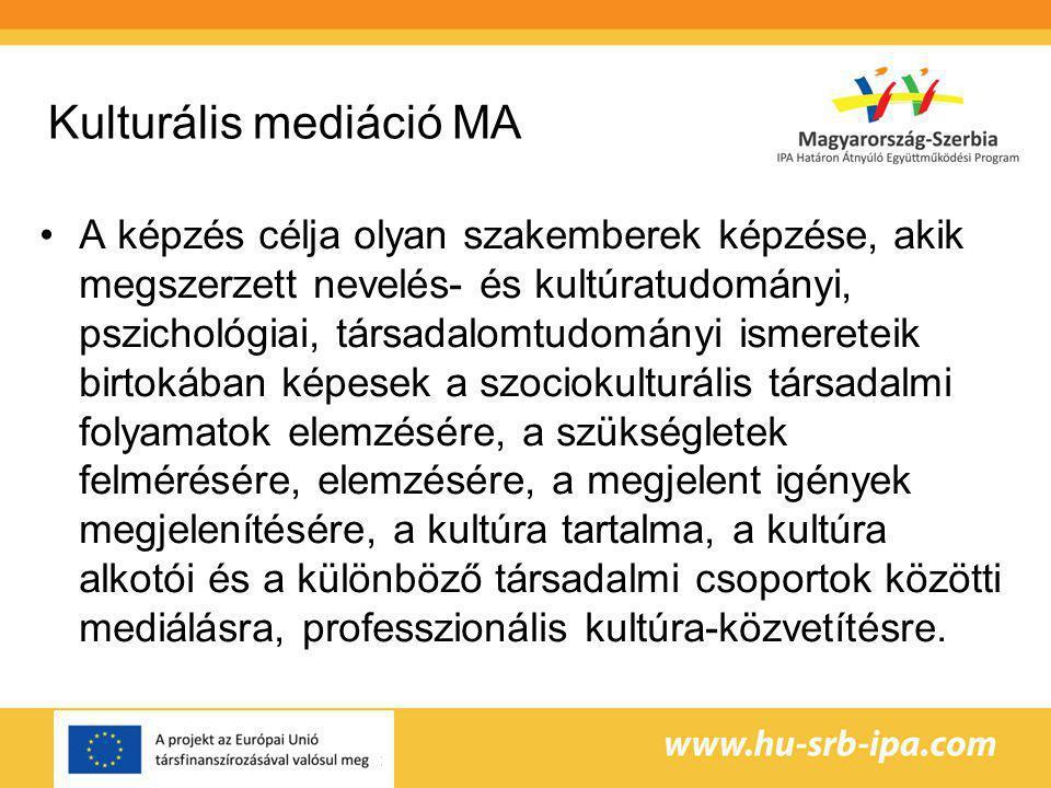 Kulturális mediáció MA A képzés célja olyan szakemberek képzése, akik megszerzett nevelés- és kultúratudományi, pszichológiai, társadalomtudományi ismereteik birtokában képesek a szociokulturális társadalmi folyamatok elemzésére, a szükségletek felmérésére, elemzésére, a megjelent igények megjelenítésére, a kultúra tartalma, a kultúra alkotói és a különböző társadalmi csoportok közötti mediálásra, professzionális kultúra-közvetítésre.