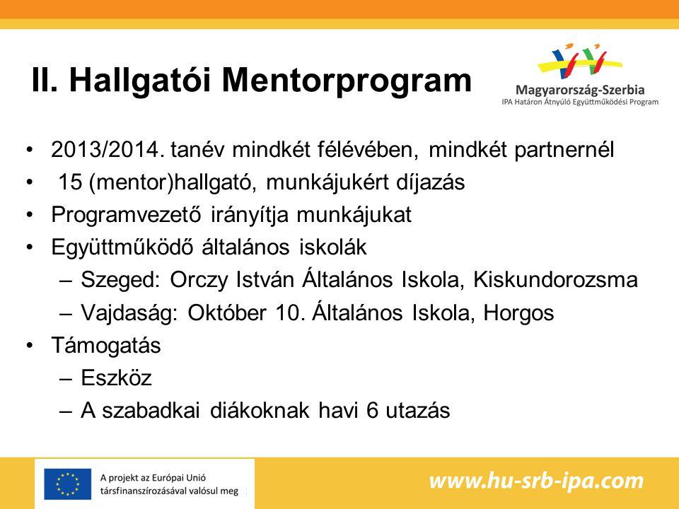 II.Hallgatói Mentorprogram 2013/2014.