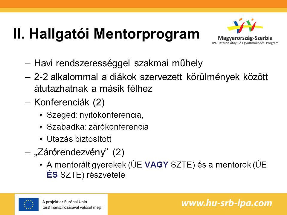 II. Hallgatói Mentorprogram –Havi rendszerességgel szakmai műhely –2-2 alkalommal a diákok szervezett körülmények között átutazhatnak a másik félhez –